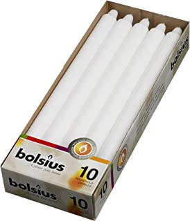 BOLSIUS Straight Unscented White Candles Pack of 10-11-inch Long Candles - 12 Hour Long Burning Candles - Perfect for Emergency Candles, Chime Candles, Table Candles for Wedding, Dinner, Christmas