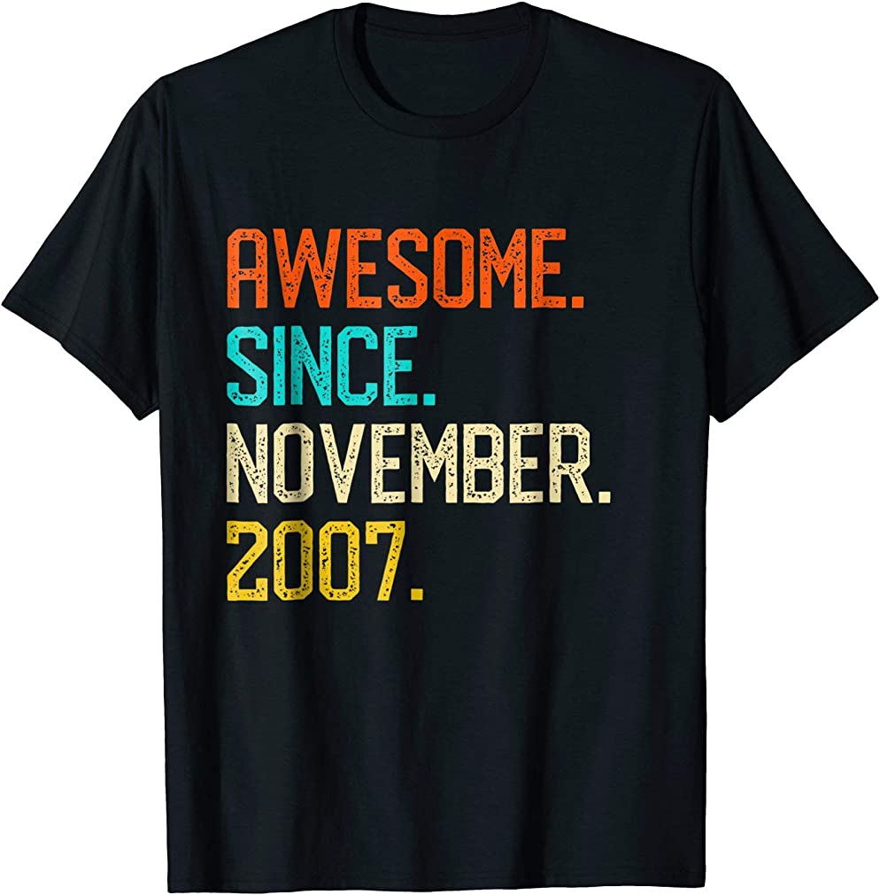 Awesome Since November 2007 Shirt Vintage 11th Birthday Tee