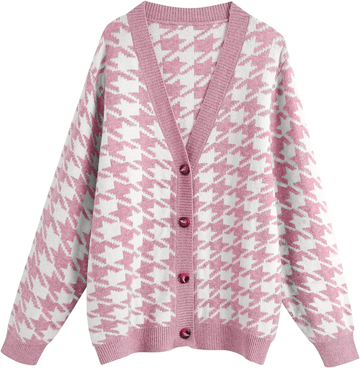 SAFRISIOR Women's Houndstooth Knitted Oversize Sweater Cardigan V Neck Drop Shoulder Button Down Sweater Pullover