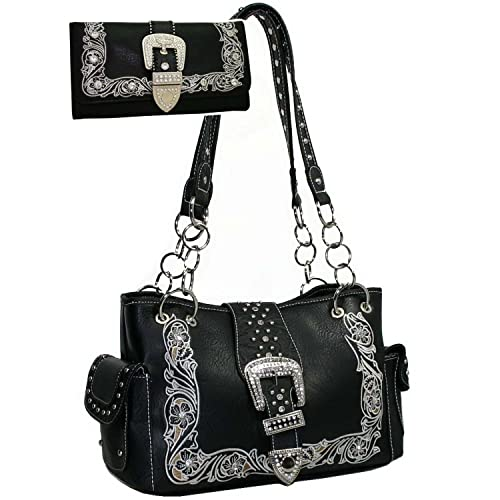 88aa1913dc Western Rhinestone Studded Bling Buckle Floral Embroidered Handbag Purse  Matching Wallet