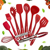 Kitchen Spatula Sets with Holder ZYYRSS Kitchen Utensil Set Red Silicone Heat-Resistant Non-Stick Kitchen Utensil Set Cooking Tools 10 Pieces