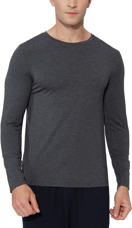 GYS Men's Long Sleeve T-Shirt Soft Bamboo Pajama Top Lounge Top