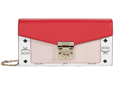MCM Patricia Visetos Leather Block Flap Wallet/Two-Fold Large (Chinese Red) Handbags