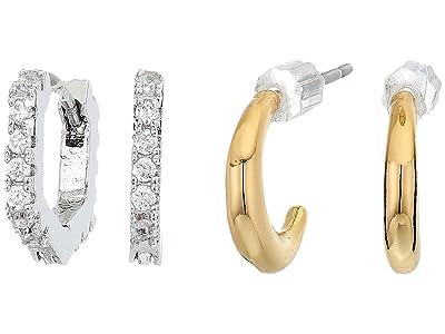 AllSaints Hex Huggie Set Earrings (Crystal/Gold/Rhodium) Jewelry Sets