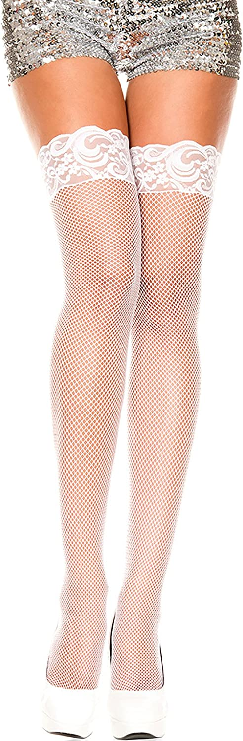 ThreeH 2 Pairs Fishnet Thigh High Stockings with Lace Top for Women