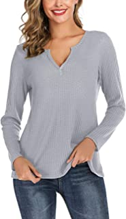 Chunoy Women Casual Henley V Neck Long Sleeve Waffle Lightweight Solid Knit Tops
