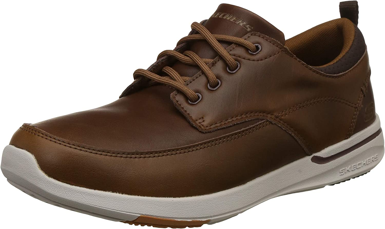 Skechers Mens Elent Leven Moc Toe Leather shoes in Brown- Lace Fastening- Smooth