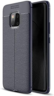 Huawei Mate 20 Pro Case Rubber Leather Pattern Litchi Soft TPU Shockproof Cover - Navy