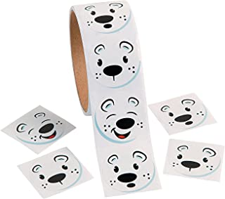 Fun Express - Polar Bear Face Roll Stickers for Winter - Stationery - Stickers - Stickers - Roll - Winter - 1 Piece