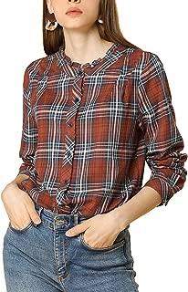 Women's Fall Blouse Long Sleeve Ruffle Neck Plaid Shirt