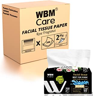 WBM Care Ultra Soft Facial Tissue with Rose Fragrance, 200 Sheets/Box, Pack of 18