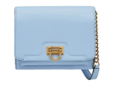 Salvatore Ferragamo Gancio Flap Crossbody Small (Cornflower) Handbags