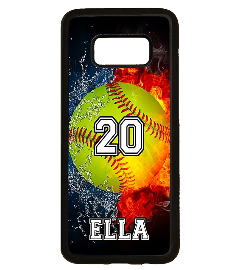 Galaxy S9 Plus Case, ArtsyCase Water Fire Softball Personalized Name Number Phone Case for Samsung Galaxy S9 Plus (Black)