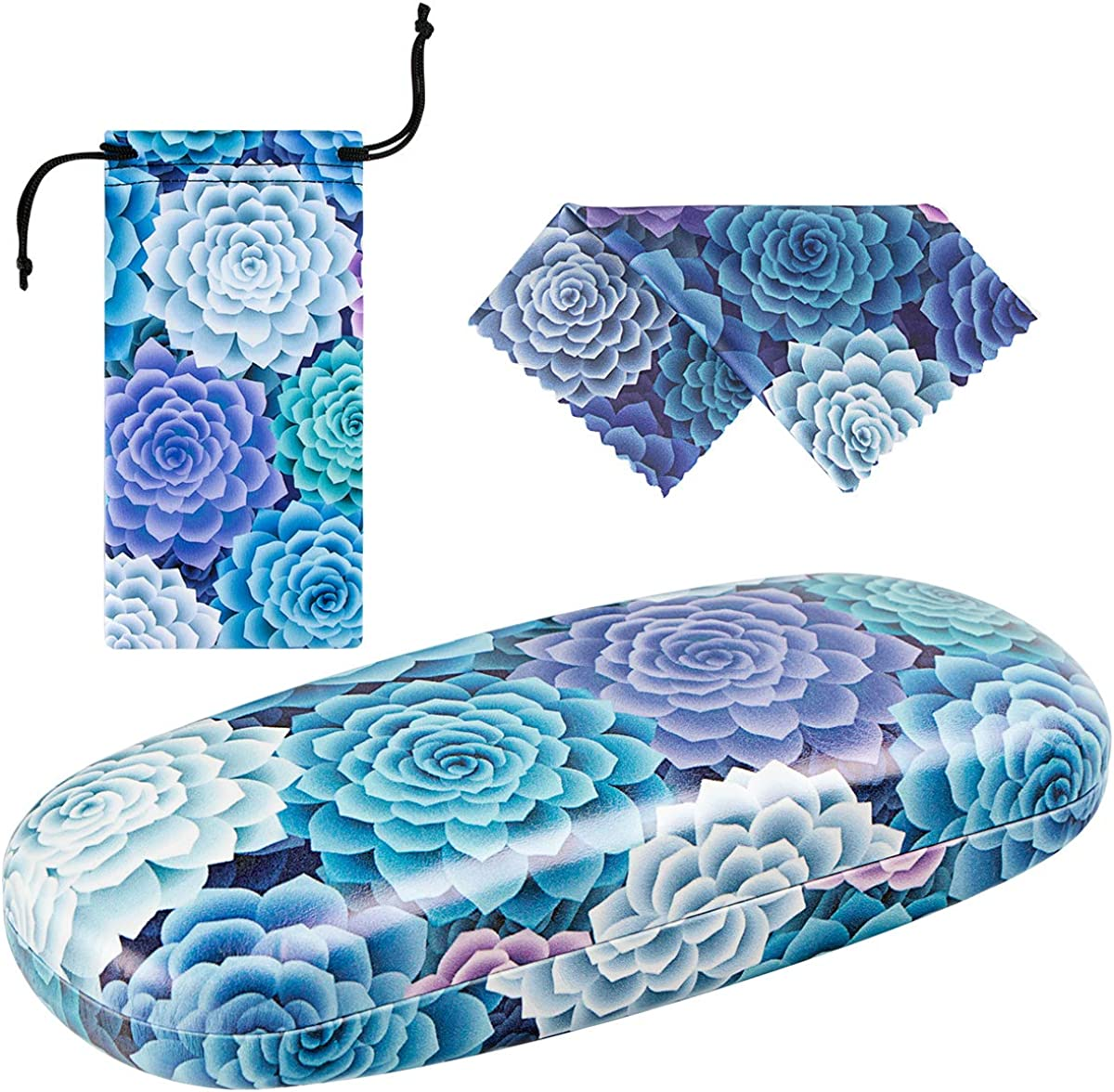 Unisex Hard Shell Eyeglasses Cases, Protective Case For Glasses with Matching Eyeglass Pouch & Cleaning Cloth