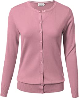 ARC Studio Women Button Down Long Sleeve Crewneck Soft Knit Cardigan Sweater L Dusty Pink