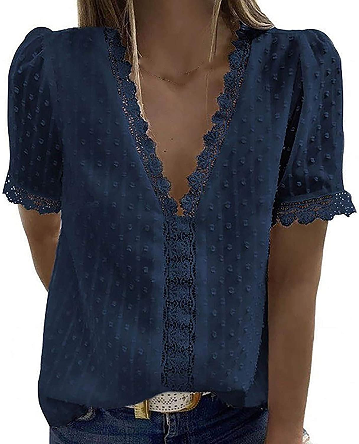 Eduavar Summer Tops for Women Fashion Vintage Lace V Neck Short Sleeve T Shirt Casual Loose Solid Color Blouse Tunic Top