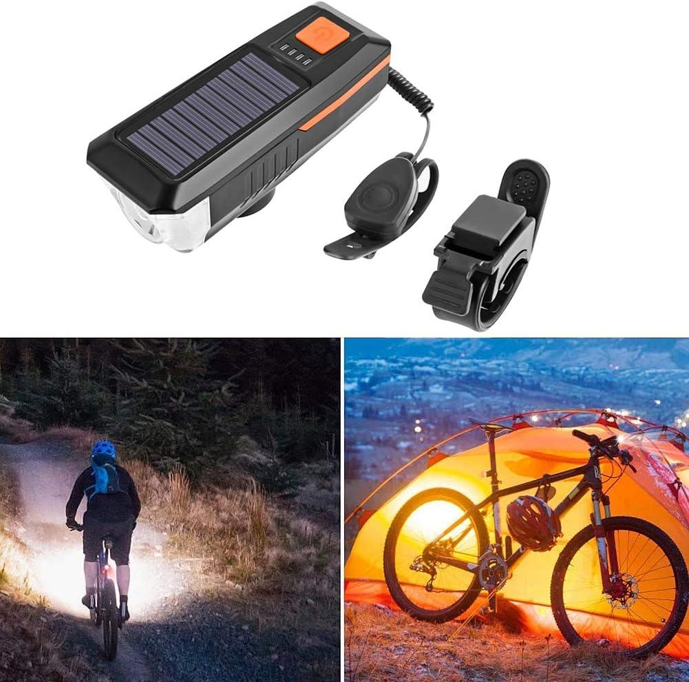 ZCO Lampada Anteriore Bicicletta Energia Solare USB Ricaricabile Bici Faro Impermeabile Arancione