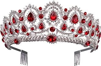Gorgeous Silver Queen Crystal Crown Headband Rhinestone Wedding Princess Tiara Bridal Party Birthday Pageant Headpieces (Red)