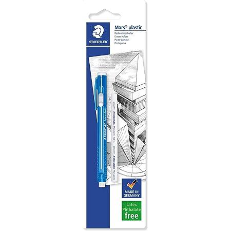 Staedtler Mars plastic, portagomma a penna, senza ftalati né lattice, ottime prestazioni e lunga durata, con ricarica, 528 50BKDA, Blue