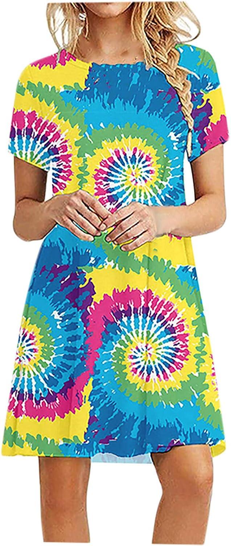 ZEFOTIM Women's Summer Casual T-Shirt Dresses Loose Short Sleeve O-Neck Beach Party Mini Swing Dress