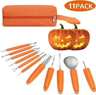 Veperain Halloween Pumpkin Carving Kit, 11 Pieces Professional Stainless Steel Pumpkin Carving Tools for Halloween,Carve Sculpt Jack-O-Lanterns Halloween Decorations DIY with a Storage Carrying Case