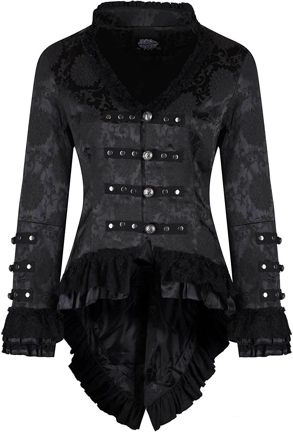 Hearts /& Roses Womens Victorian Steampunk Brocade Tailcoat Corset Back