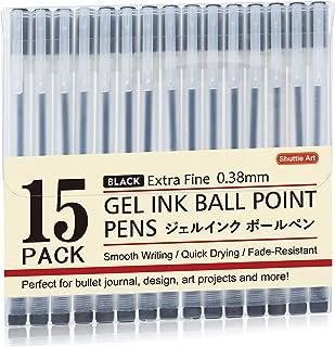 Gel Ink Ball Point Pens, Shuttle Art 15 Pack Japanese Style Black Gel Ink Pen Set, 0.38mm for Home, School and Office