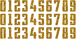 2-Inch Tall Glitter, Reflective, Hologram, Metallic, Matte PU Iron-on Heat Transfer Numbers for Custom Shirts and Clothing, 3pcs of Each of 10 Digits (Gold Glitter)