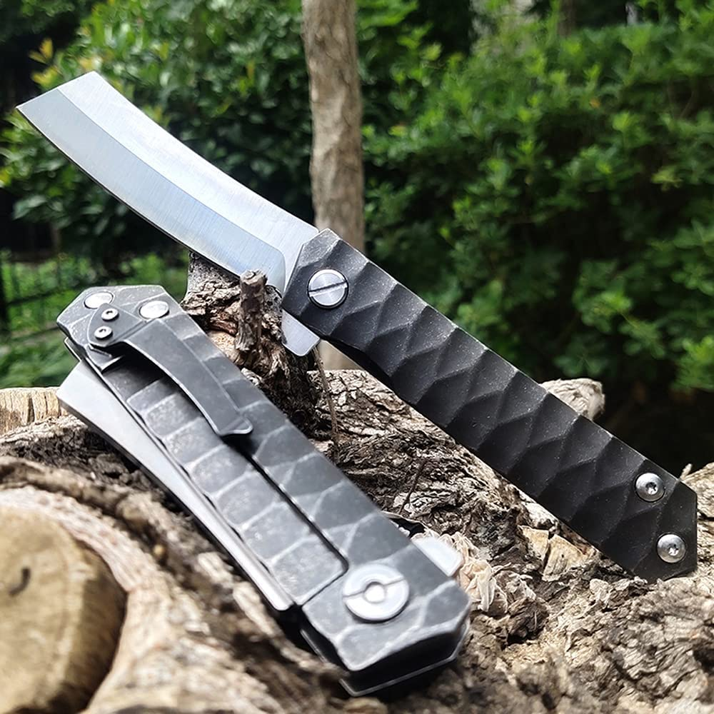 ForestBros Tactical Folding Knife D2 Steel Razor Blade Bearing System Pocket Flipper Knife Outdoor Survival Knives Camping EDC Tools with Non-Slip Pattern Handle
