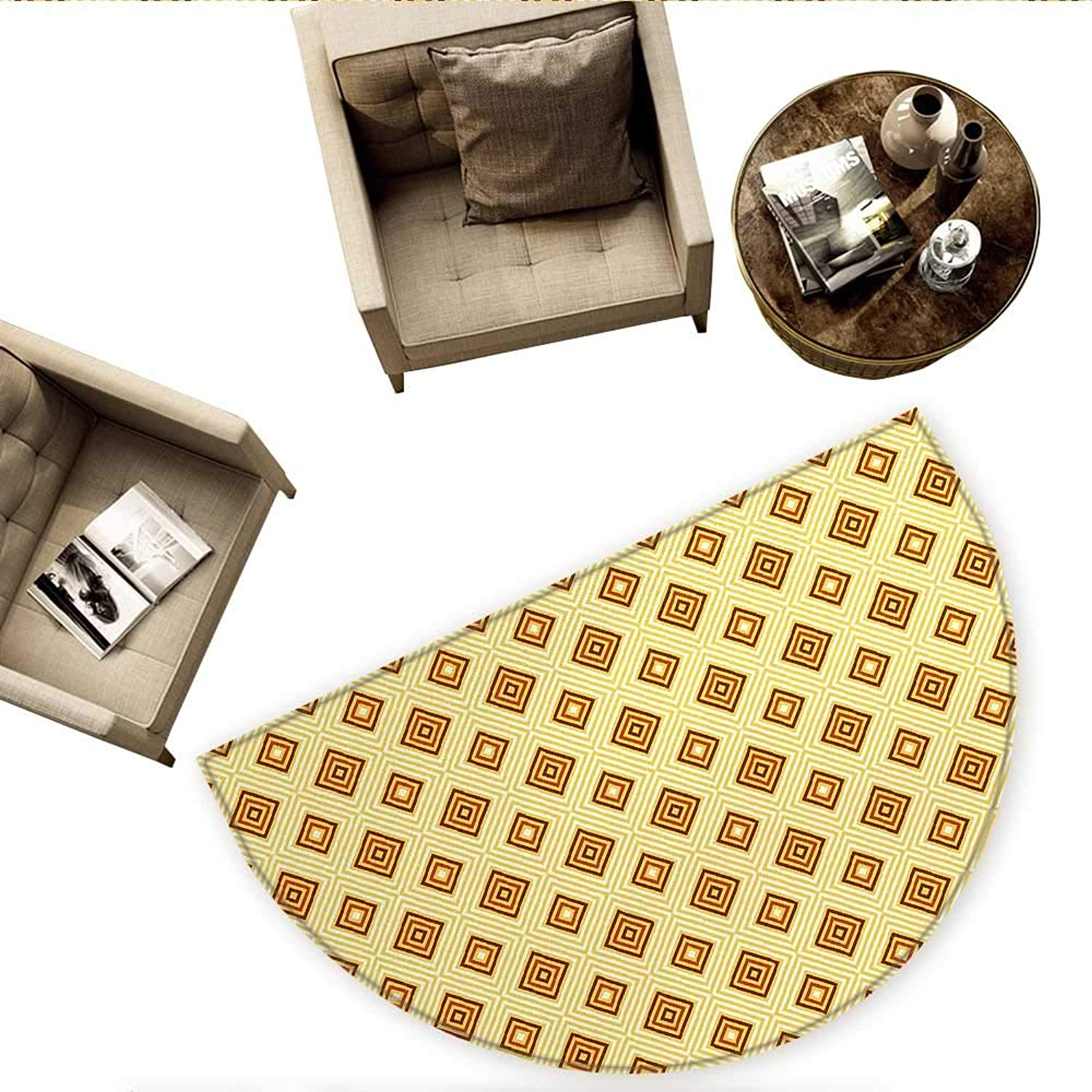 Retro Semicircle Doormat Old Fashioned Diamond Shapes with Inner Lines Sixties Style Rhombus Design Halfmoon doormats H 59  xD 88.6  Pale Yellow Amber