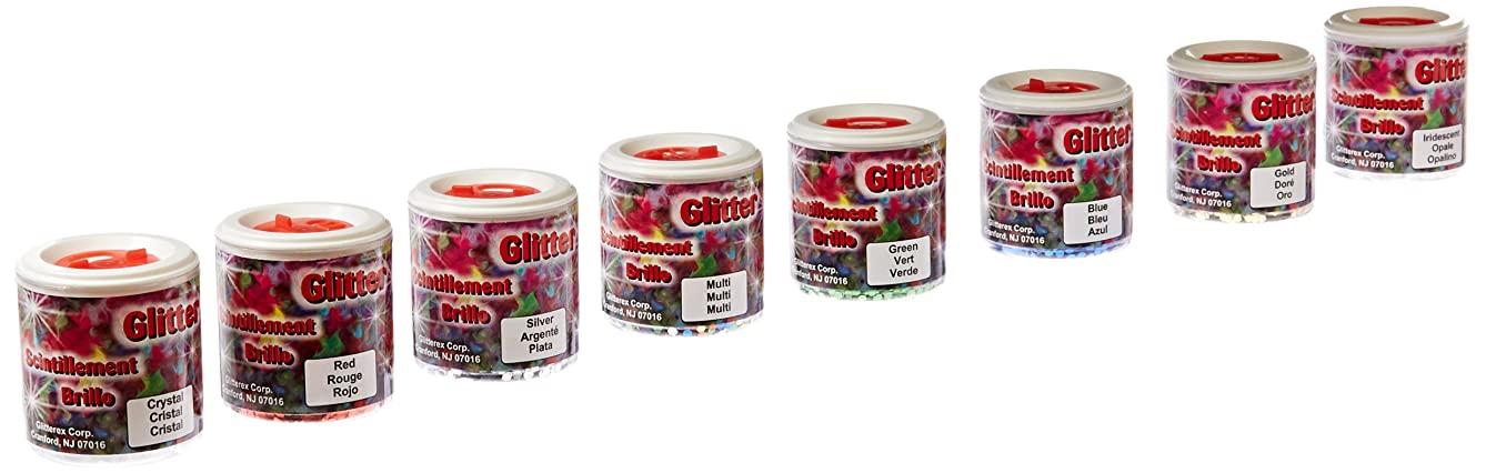 School Specialty Non-Toxic Jumbo Glitter with Shaker Tops, 2 oz Jar, Assorted Color, Set of 8