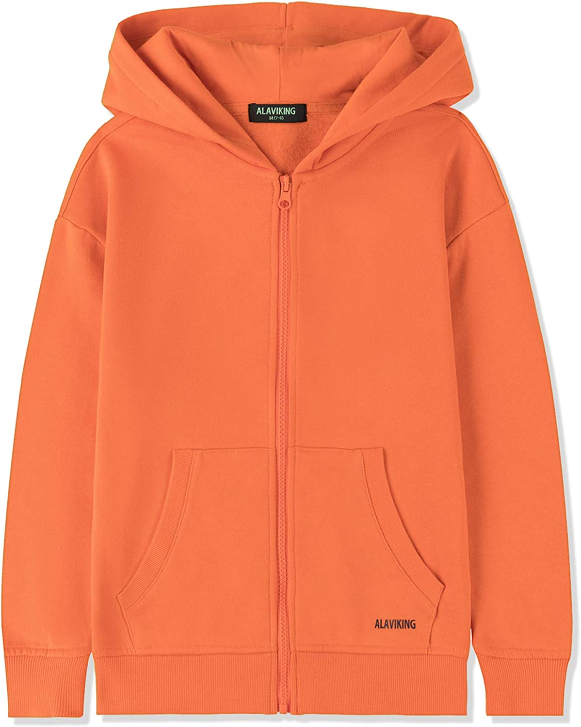 ALAVIKING Kids Soft Brushed Fleece Zip Up Hoodie Casual Athletic Hooded Sweatshirts for Boys and Girls 3-12 Years