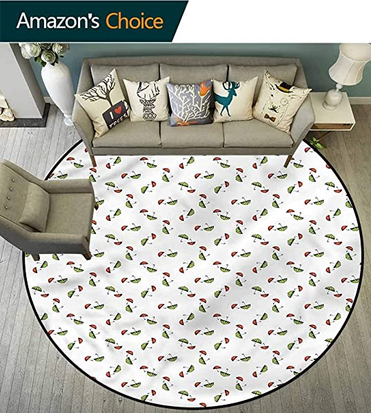 RUGSMAT Umbrella Super Soft Circle Rugs For Girls Red And Green In Pairs Circle Rugs For Living Room Diameter 35