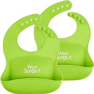 WeeSprout Baberos de silicona impermeables (juego de 2) | Bolsillo para atrapar alimentos