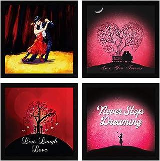 ArtX Paper Dancing Couple Love Wall Art, Multicolor, Romantic, 13X13 in, Set of 4