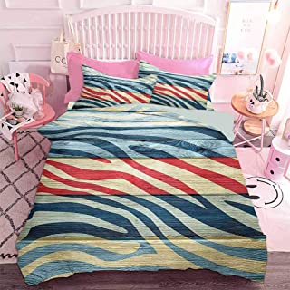 Hiiiman Home Decor Textile Art Imprimé zèbre coloré sur une illustration de style rustique en bois (3 pièces, 2 lits), 1 h...