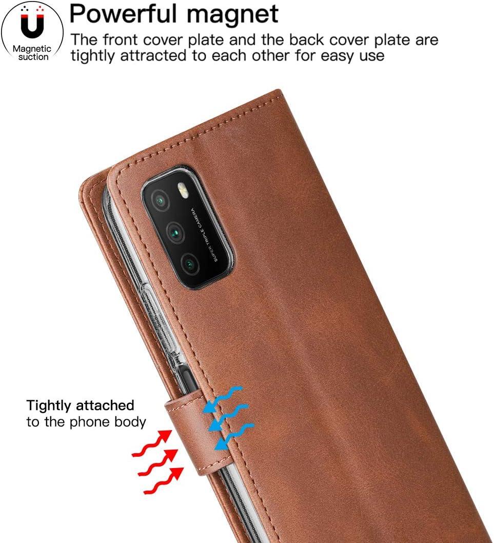 Noir /Étui en Cuir PU Housse de Protection Antichoc Cresee Coque Xiaomi Poco M3 pour Poco M3 B/équille Support 3 Portes Carte Fermeture Magn/étique