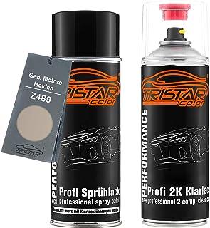 TRISTARcolor Autolack 2K Spraydosen Set für Gen. Motors/Holden Z489 Champagne Metallic Basislack 2 Komponenten Klarlack Sprühdose