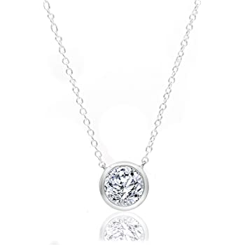 I-J Color, I2-I3 Clarity Natural Diamond Neckpiece Vibgyor Designs Sterling Silver 1//4 Carat Round-Cut