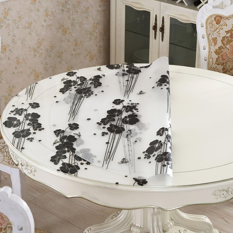 Tischdecke Tischdecke, wasserdichte Kristallplatte Kaffeetisch Tuch PVC Tischdecke weiß schwarz Blaumen 1mm ( größe   Round-135cm ) B0739HNGST Billig ideal  | Zürich