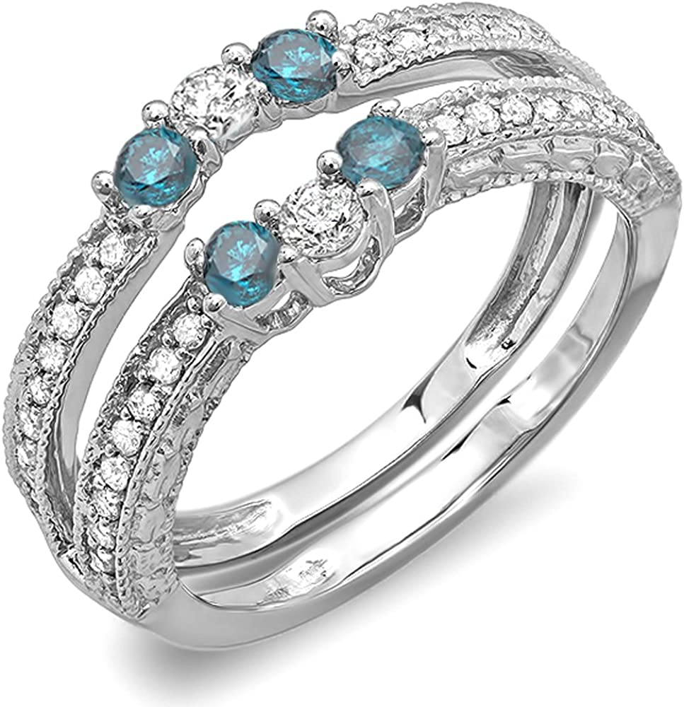 Dazzlingrock Collection 0.60 Carat (ctw) 10k Round Blue And White Diamond Ladies Anniversary Enhancer Guard Band, White Gold