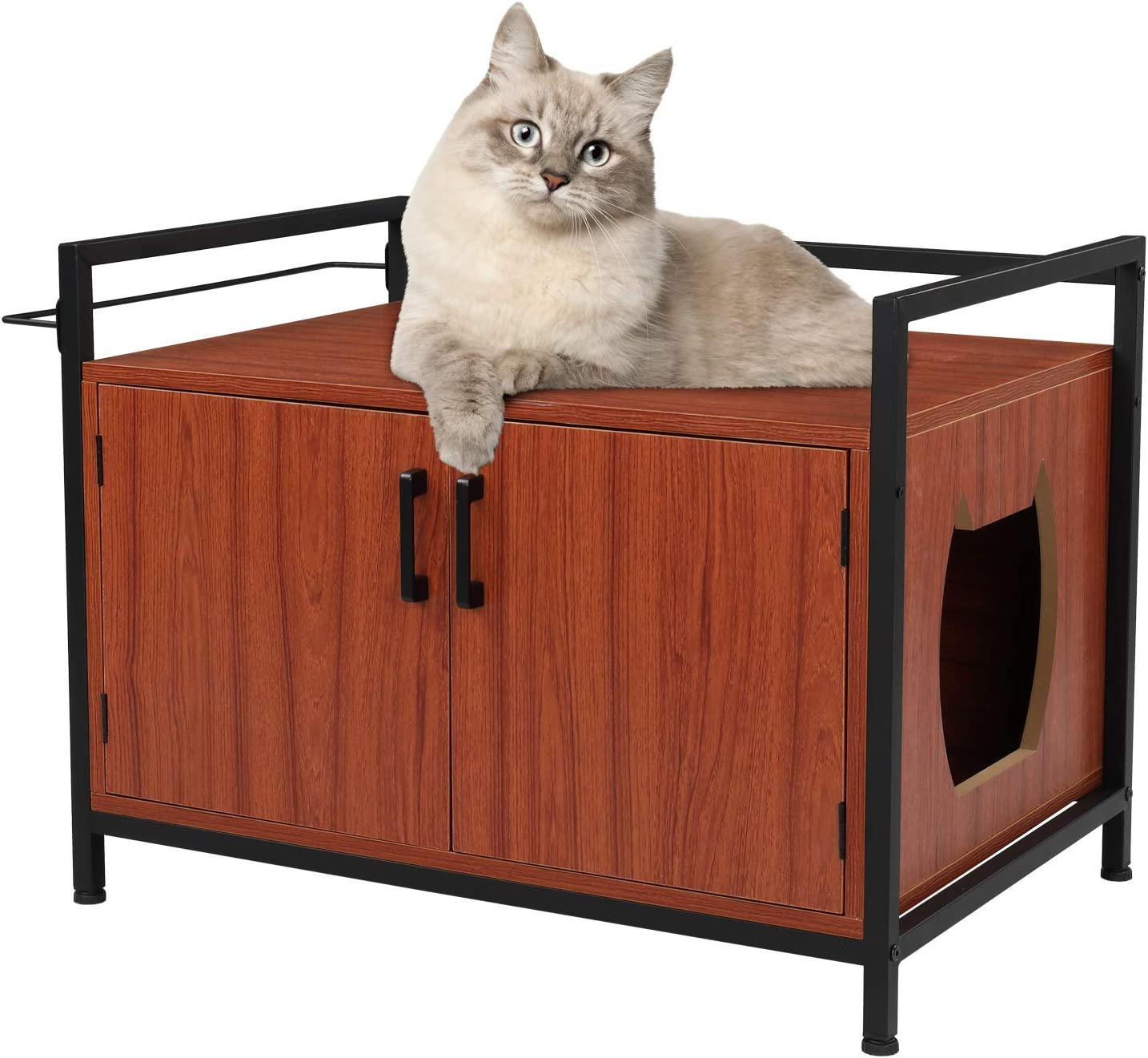 Bonnlo Nightstand Cat Litter Box Doors House Two Kitty Daily bargain sale New products, world's highest quality popular! Enclosure