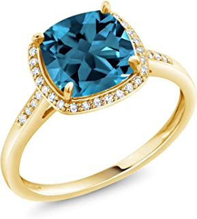 Gem Stone King 10k Yellow Gold London Blue Topaz and Diamond Women's Ring 2.74 cttw Cushion Cut Available in size 5, 6, 7, 8,