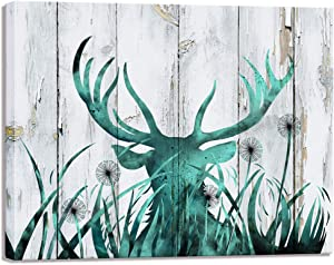 Visual Art Decor Abstract Wildlife Animal Painting Deer Stag with Long Antler Canvas Wall Art Prints Rustic Teal Wood Texture Ready to Hang for Modern Home Bedroom Wall Decoration