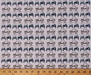 Field's Fabrics Cotton Jeeps Jeep Land-Rover Roadster Buggy Vehicles Automobile Transportation Camping Travel Roadtrip Gray J is for Jeep