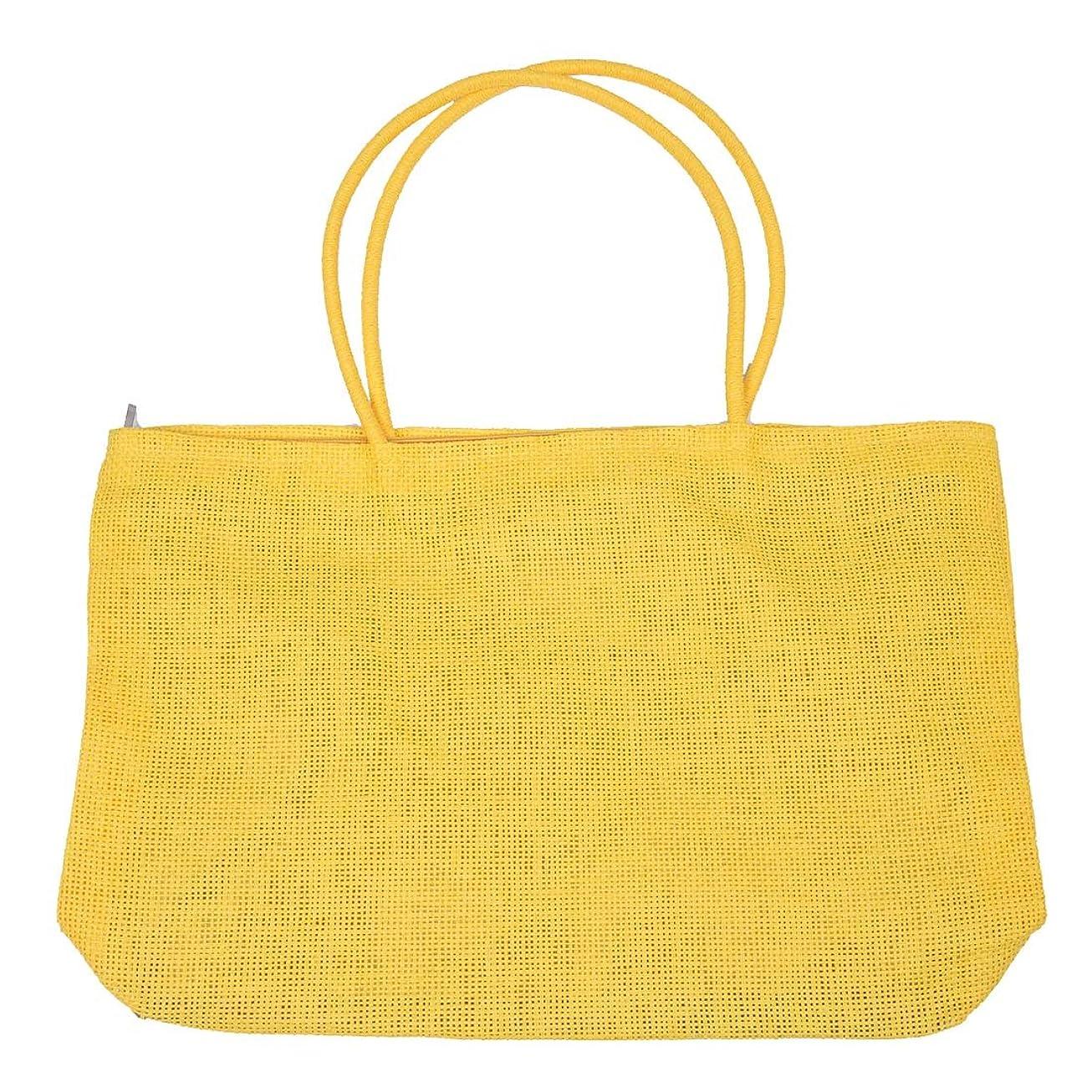 正気雇った市民権RETYLY 女性のファッション的な織わら 夏のトートショルダーバッグ ビーチショッピングハンドバッグ - 黄色