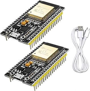 WayinTop 2pcs NodeMCU Modulo WiFi Placa de Desarrollo para ESP32 ESP-32S ESP-WROOM-32 2.4 GHz Dual Core WLAN WiFi + Blueto...