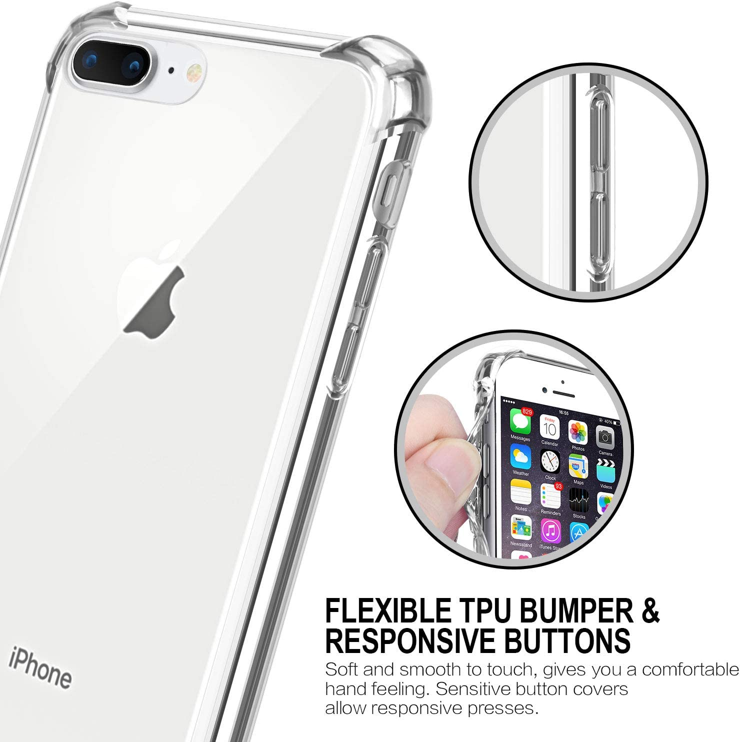 Salawat for iPhone 7 Plus Case Clear iPhone 8 Plus Case Cute Anti Scratch Slim Phone Case Cover Reinforced TPU Bumper Shock Absorption Protective Case for iPhone 7/8 Plus (Crystal Clear)