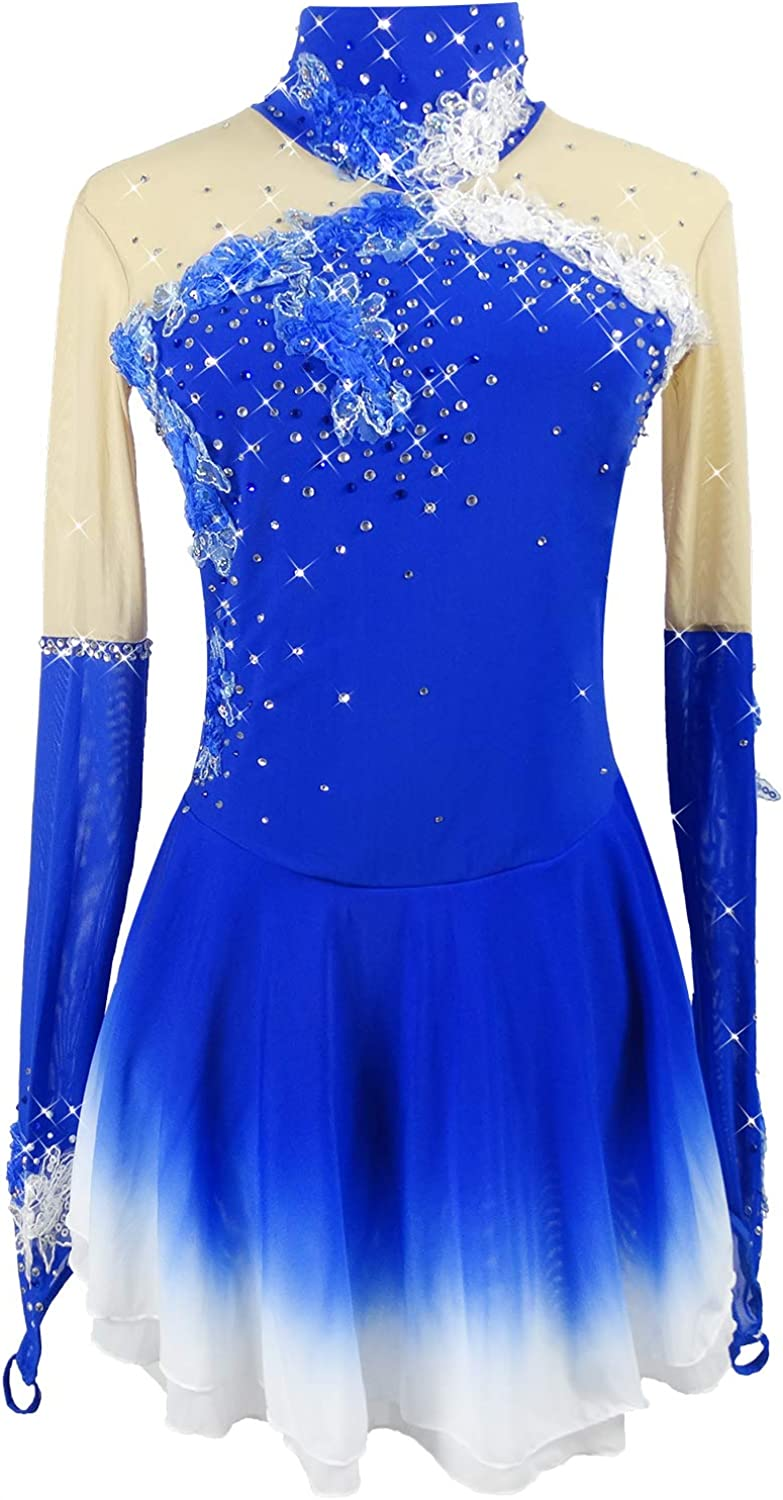 Blue Figure Skating Dress Spring new work one after another Fingerp Long-Sleeved Skirt Ice Ranking TOP10