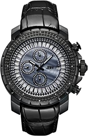 JBW Luxury Men's Titus 12 Diamonds & Baguette Cut Swarovski Crystals Leather Watch - J6347L-D